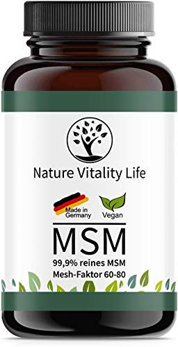 MSM Kapseln hochdosiert - MADE IN GERMANY - 1600mg MSM je Tagesdosis - Laborgeprüft - 365 vegane Kapseln ohne Zusatzstoffe - 99,9% Methylsulfonylmethan