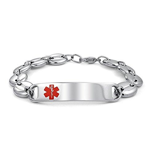 Bling Jewelry Médicos de Identificación Médica Alerta Médica ID Pulseragrabable Mariner Cadena para Hombres Plata Tono Acero Inoxidable