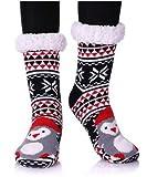 YEBING Women's Cute Knit Cartoon Animal Face Soft Warm Fuzzy Fleece Lining Winter Home Slipper Socks Snowflake Penguin