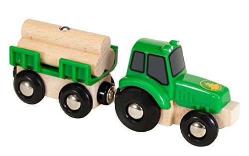 BRIO World - 33799 - Tracteur et Remorque - Accessoire pour circuit de train en bois - Thème ferme / bucheron - Jouet pour garçons et filles à partir de 3 ans