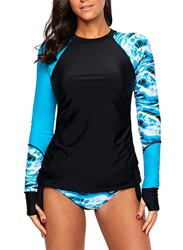 AlvaQ Womens Juniors Geometric Print Contrast Long Sleeve Tie Side Rash Guard Tankini Swimsuit Plus Size 2X Dark Blue