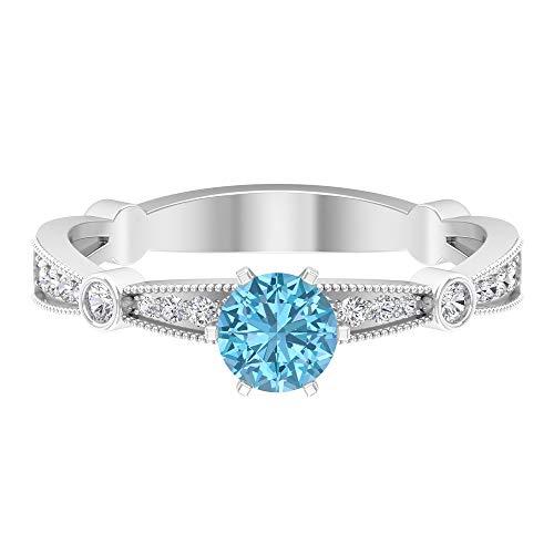 Anillo de aguamarina, piedras preciosas redondas de 0,71 quilates, anillo de promesa de solitario de 5 mm, anillo de compromiso de 6 puntas, joyería de oro para ella, 14K Oro blanco, Size:EU 69