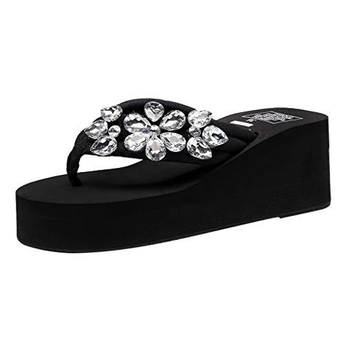 Yvelands Mujeres Liquidación Hechos a Mano Cristal Cuñas Chanclas Sandalias Zapatillas Zapatos de Playa (Negro,38)
