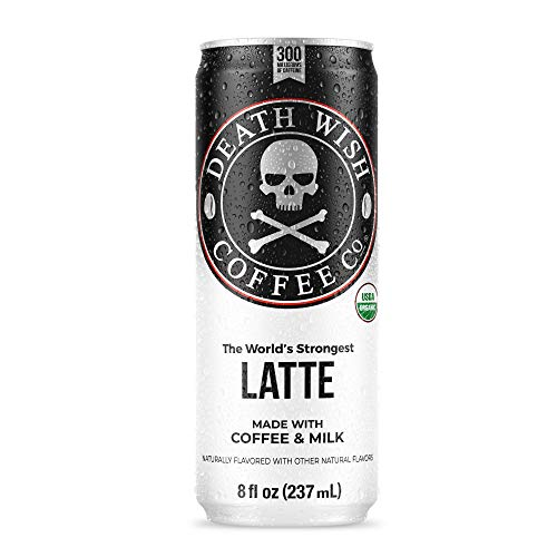 Death Wish Coffee Canned Iced Cold Brew Latte [8 fl oz | 12-pack | 300mg of caffeine each can] The World's Strongest Latte, USDA Certified Organic, Arabica and Robusta Beans, With Sugar and Milk