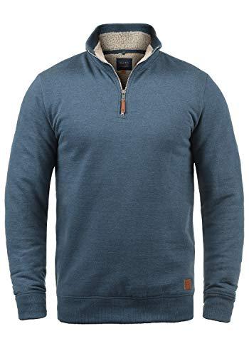 Blend Aliere Teddy Herren Sweatshirt Troyer Pulli Mit Stehkragen Und Teddy-Futter, Größe:L, Farbe:Ensign Blue Teddy (74654)