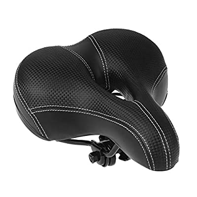 WINOMO Comfort Bicycle Saddle Soft Wide Bike Cushion Seat With Waterproof Cover (Black)