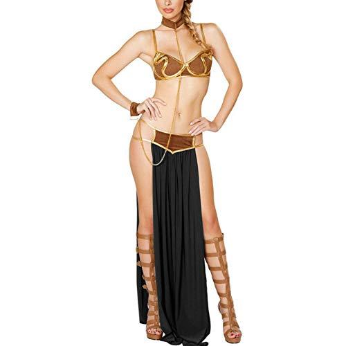 Lingerie Trasparente Cosplay para Star Wars En Halloween Fiesta De Carnaval Vestidos Disfraces De Anime Mujeres Adultas Princesa Sexy Leia Slave Bra + Falda Negro