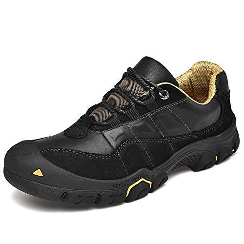 IENNSA Zapatos de Senderismo Bota de Trabajo al Aire Libre para los Hombres Escalada Zapatos de Senderismo Lace Up Cuero Genuino Sponge Sponge Strading Soles Soles Cap Toe Toble Support