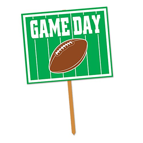 Beistle Game Day Yard Sign, 12 by 15-Inch, Green/White/Brown