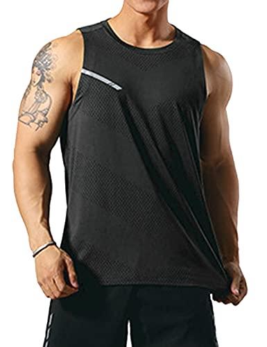 GYMAPE, canotta da uomo per allenamento sportivo, maglie da corsa senza maniche, abbigliamento da palestra quick dry, Nero , XL