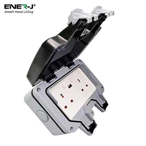 ENERJ Intelligente Impermeabile 13A WiFi Doppia Presa a Muro con 2 Porte USB, IP66 2 Gang 13 Amp bipolare elettrici Contatti Sockets Box per Ga