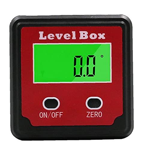 Buscador de ángulo del prolongador digital inclinómetro Nivel caja de plástico rojo Negro de precisión digital con la caja bisel Herramientas del regalo del día de padre imán Base para el hogar