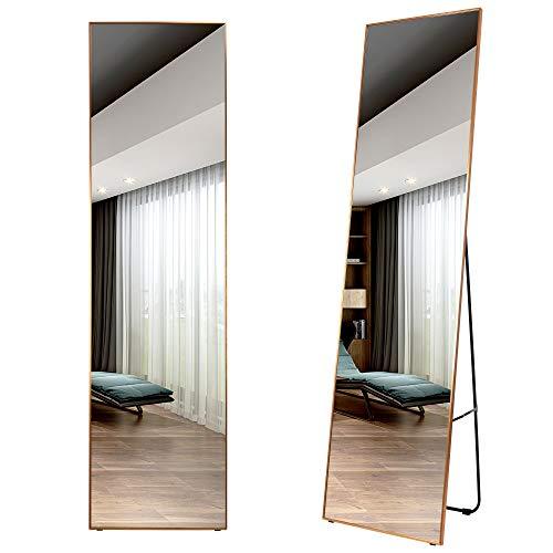 LVSOMT Espejo de 160 x 40 cm de Longitud Completa, Espejo de Pared y Piso, Espejo Colgante, Espejo de Cuerpo Entero, aleación de Aluminio Enmarcado para Dormitorio, Sala de Estar, Vestuario