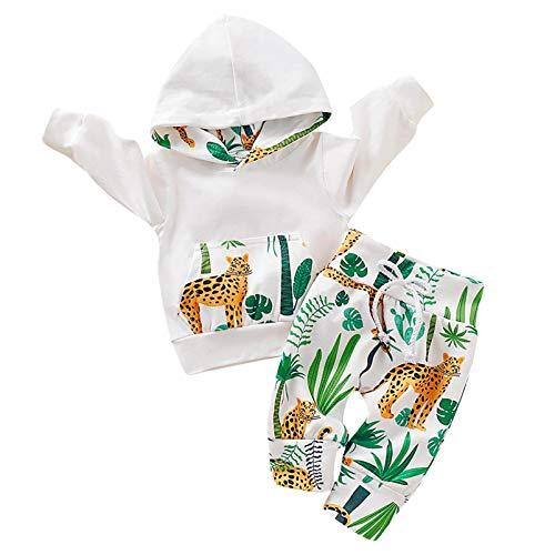 Kfnire - Conjunto de bebé compuesto de pantalones y sudadera con capucha, diseño de leopardo blanco 0- 3 meses