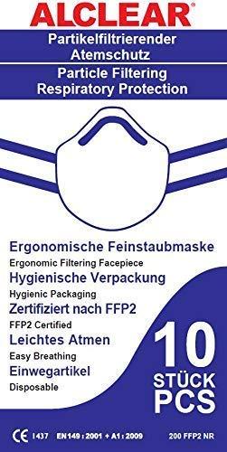 ALCLEAR 10er Set FFP2 antivirale Atemschutzmaske, face mask Partikelfiltrierender Atemschutz, Feinstaubmaske, leichteres Atmen als mit FFP3 - 4