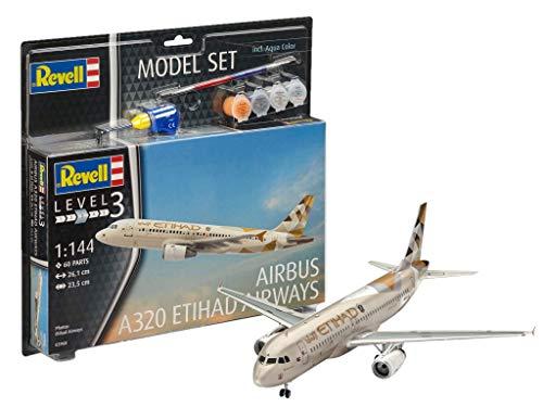 Revell- Control 1/144 Model Set Airbus A320 Etihad, Colore Grigio, RV63968