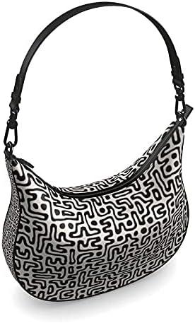 The Fashion Access Hand Drawn Labyrinth Curve Hobo Bag