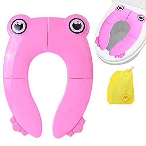 Riduttore Water Bambini Portatile Pieghevole Sedile Portatile Viaggio Adattatore WC Copertura Universale per Neonati(Rosa)