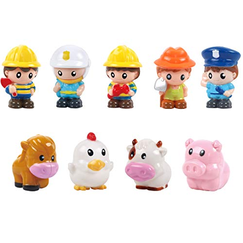 Play 2 Grow People Figures and Farm Animals Playset, Set of 9 Dollhouse Figure Set - Cow, Chicken, Horse, Pig, 5 First Responders Figures