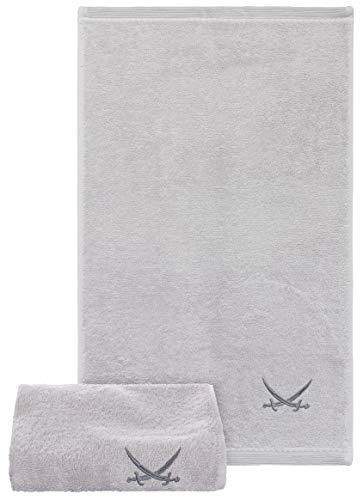 Sansibar Gästehandtuch 2er Set 30x50 cm 100% Baumwolle mit gesticktem Säbel Logo Set Handtuch Seiftuch Silber