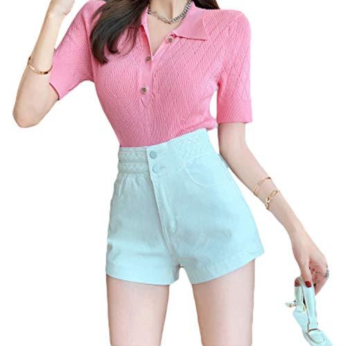 Pantalones Cortos de Mezclilla Sexis de Cintura Alta para Mujer, Pantalones Cortos de Pierna Ancha básicos Sueltos de Color sólido Sueltos con Tendencia de Lavado Hip-Hop S