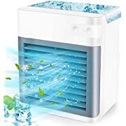 Portable Air Conditioner, Rechargeable Personal Evaporative Air Cooler Fan with 3 Speeds 7 Colors for Home, Office and Room, Air Conditioner