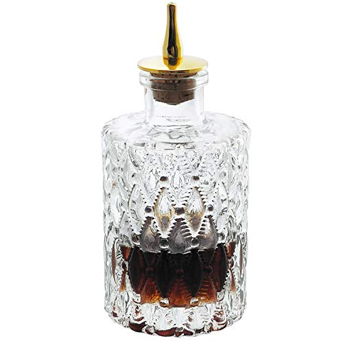 Bitters Bottle - Jewel Bitter Bottle For Cocktail, 6oz / 175ml, Glass Dahs Bottle With Gold Plated Cork Dasher Top - DSBT0011 (1, Gold)