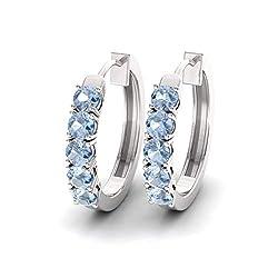 Aquamarine Gemstone Huggies Earrings in 14K White Gold