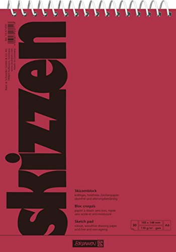 Brunnen 1047650 Zeichen-/Skizzenblock (A6, 110 g/m², 30 Blatt, mit Spirale)