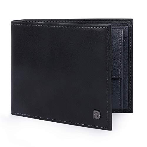 Pomelo Best Herren Ledergeldbörse mit RFID Schutz, Münzfach und vielen Fächer Echtleder Geldbeutel für Männer (Schwarz)
