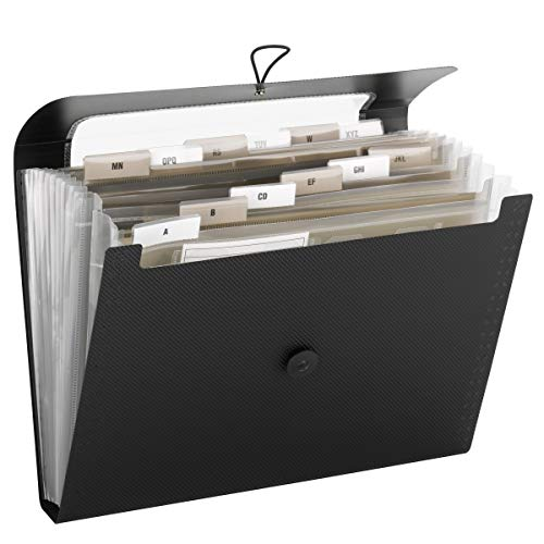 Smead Step Index Poly Organizer with 12 Pockets, Letter Size, Black (70901)