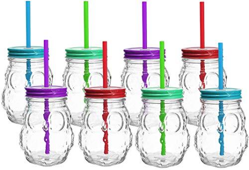 My-goodbuy24 Trinkgläser Trinkbecher - 8er Set - Deckel und Strohhalm - große Auswahl - 420ml - in verschiedenen Designs - Trinkglas - Cocktail Glas - Gläser - Eule