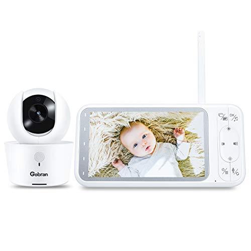 Baby Monitor 5'' 1080P HD Schermo IPS 360° Rotazione 4 Telecamere Estendibile,Gobran Videosorveglianza,Attivazione Vocale VOX,Audio Bidirezionale,Visione Notturna,8 Ninnananne,Sensore di Temperatura