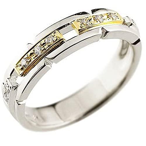 [アトラス]Atrus リング メンズ pt900 プラチナ900 18金 イエローゴールドk18 ダイヤモンド コンビ 幅広 指輪 ストレート 22号