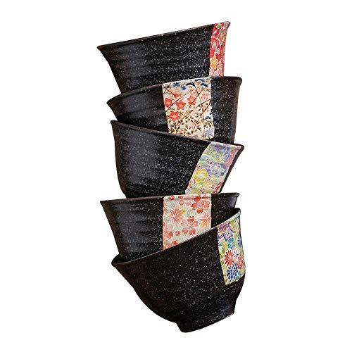 Proceso de cereales cuencos de sopa cuencos Ensaladera de cerámica Plato de Arroz Vajilla Textura Mate gota del aceite de Tianmu, resistencia da alta temperatura, 5 estilos (color: C, Tamaño: 2 piezas