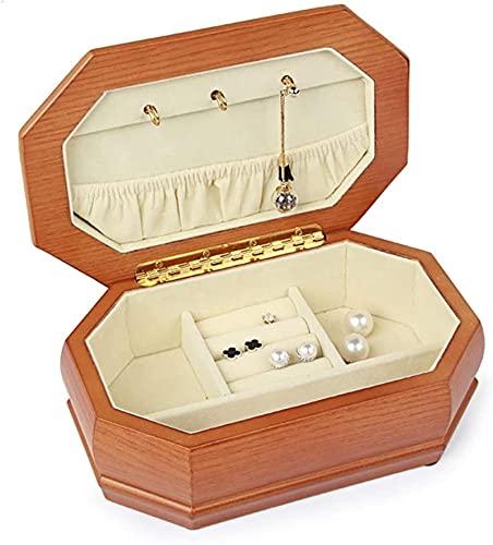 Caja de joyería, caja de joyería de madera y estuche para anillos, pendientes, collar, pulseras Organizador Joyas Cajas de almacenamiento