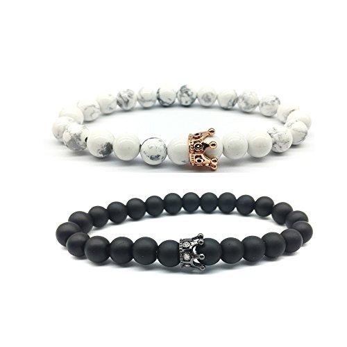Epoch World King & Queen Crown paar Armbänder, Stein Armband seine und ihre Freundschaft 8mm Perlen Armband, schwarz Matte und weiß Armbänder
