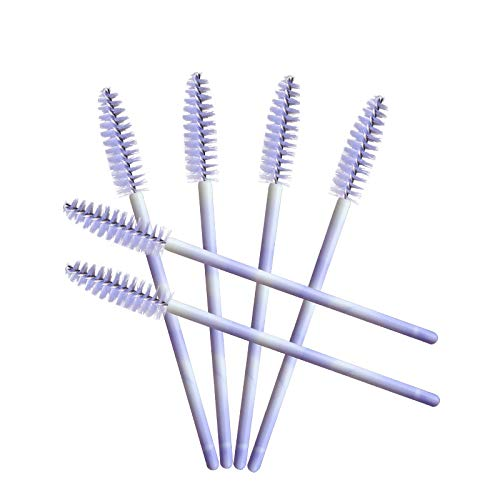 100 Pack Mascara Wands Disposable Eyelash Brushes for Eye Lash Extensions Makeup Brush Applicators One-off Use Cosmetic Tool, (New Light Purple)