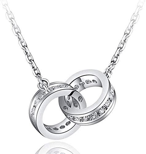 DUEJJH Co.,ltd Collar con Colgante de Encanto de Anillos entrelazados de Doble círculo de la Suerte Genuino Plateado 925