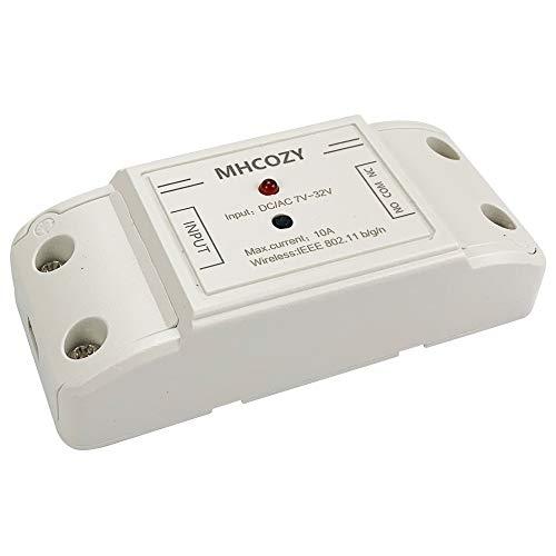 MHCOZY Uppdaterad WiFi trådlös smart strömbrytare med självlåsande relämodul, ställ in inkeringstid från 0,5 sekund till 1 timme, tillämpas för åtkomstkontroll, gör-det-själv WiFi garagedörröppnare (7-32 V med skal)