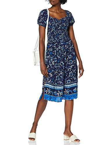 Superdry Kala Smocked Midi Dress Vestito, Blu (Navy Paisley Ew6), XS Donna
