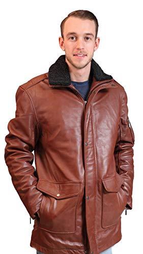 Classyak - Giacca da uomo in vera pelle con colletto in pelliccia Pelle di agnello marrone S Chest 52