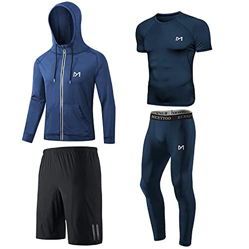 MEETYOO Camiseta Compresion Hombre, Leggings Compresión Camisetas Manga Larga Chaqueta Pantalón Running para Deportiva Fitness Gym