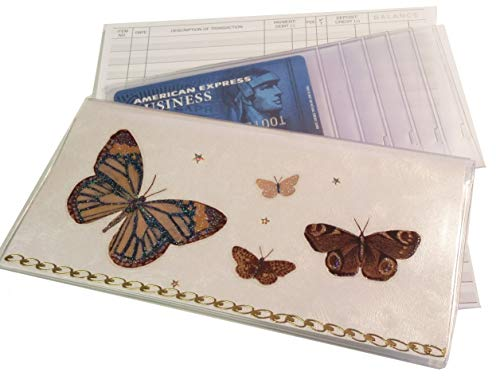Checkbook Cover with Brown Monarch Butterflies Includes 50 Page Register (White Monarch)