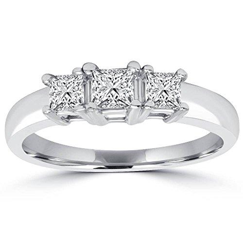 Anillo de compromiso de diamante de corte princesa de tres piedras de 1 quilate, oro blanco de 14 quilates