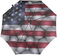 キッズ傘アメリカンフラッグ7月4日レンガの壁オートオープンクローズスモールコンパクトトラベルサンUVレイン防風折りたたみ傘ポータブル軽量ショートパラソル子供用女の子10代-3Dインサイドプリント2-11.5インチ折りたたみ後