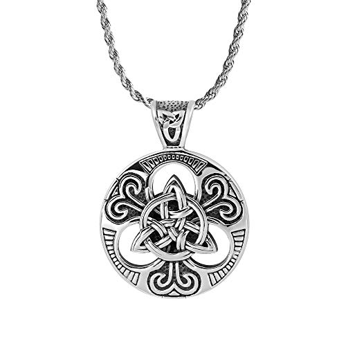 iSTONE Celtic Knot Necklace for Men,Stainless Steel Magic Double Side Solid Heavy Pendant with 24 inch SteelChain