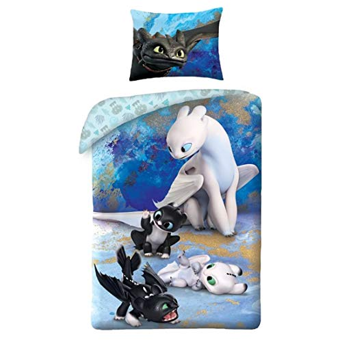 Cómo Entrenar a tu dragón Ropa de Cama Reversible How to Train Your Dragon HTTD-6050BL 140x200 Furia Luminosa y Nocturna Desdentao Negro Blanco Azúl Oeko Tex