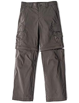 CQR Kids Youth Hiking Cargo Pants, UPF 50+ Quick Dry Convertible Zip Off/Regular Pants, Outdoor Camping Pants, Boy Convertible(bxp432) - Brown, 14-16 Large