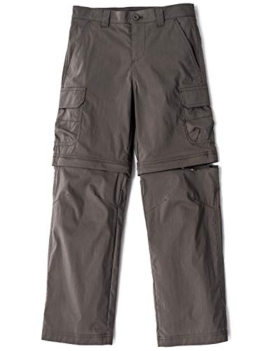 CQR Kids Youth Hiking Cargo Pants, UPF 50+ Quick Dry Convertible Zip Off Pants, Outdoor Camping Pants, Boy Convertible Brown, 12